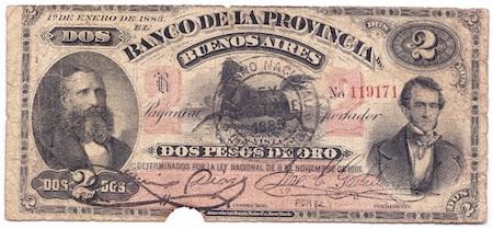 1883 billete 2 pesos florencio varela