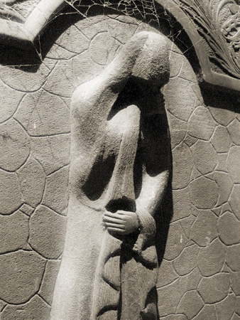 Weeping woman plaque, Recoleta Cemetery
