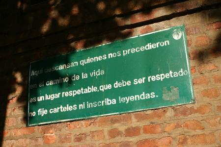 Exterior signage, Recoleta Cemetery