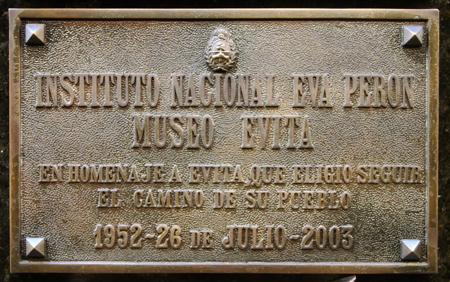 Recoleta Cemetery, Buenos Aires, Eva Perón plaque