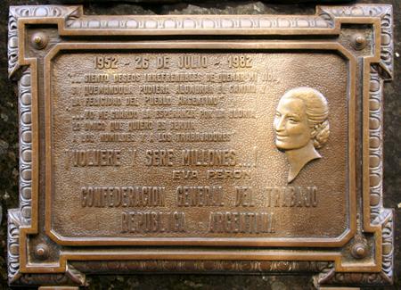 Eva Perón plaque, Recoleta Cemetery