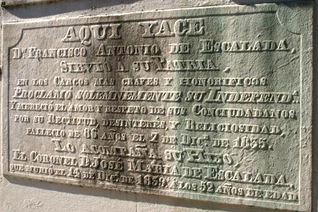 Francisco Antonio de Escalada, Recoleta Cemetery