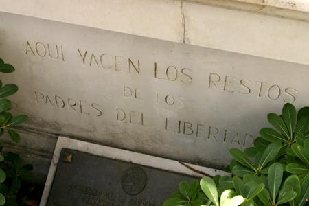 Padres del Libertador, Recoleta Cemetery