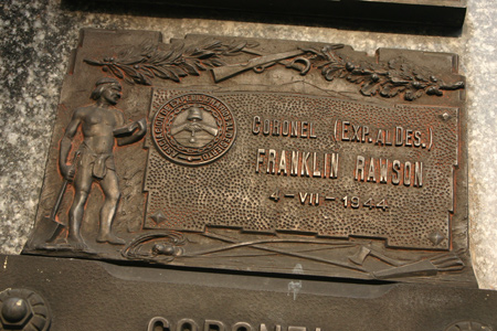 Coronel Franklin Rawson, Recoleta Cemetery