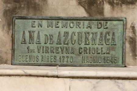Ana de Azcuénaga, Recoleta Cemetery