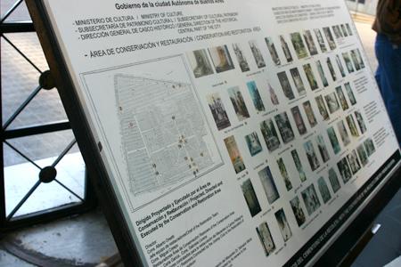 Restoration info panel, Recoleta Cemetery