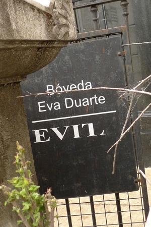 Evita sign, Recoleta Cemetery