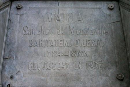 María Sánchez de Mendeville, Recoleta Cemetery