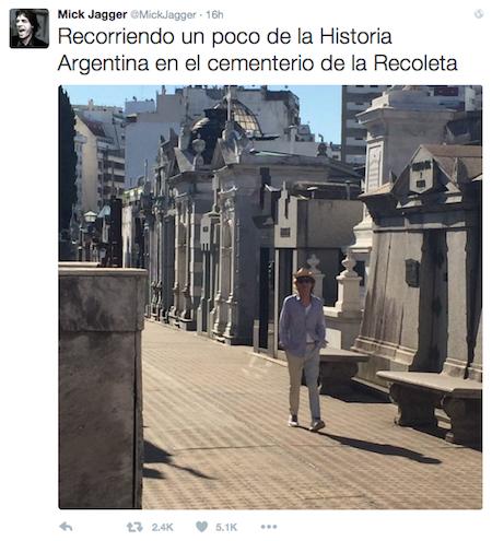 Recoleta Cemetery, Buenos Aires, Mick Jagger