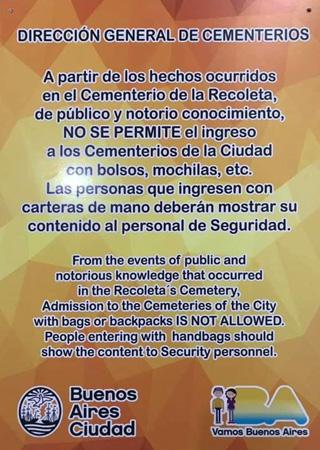 Buenos Aires, Recoleta Cemetery, Susana Gesualdi, notice