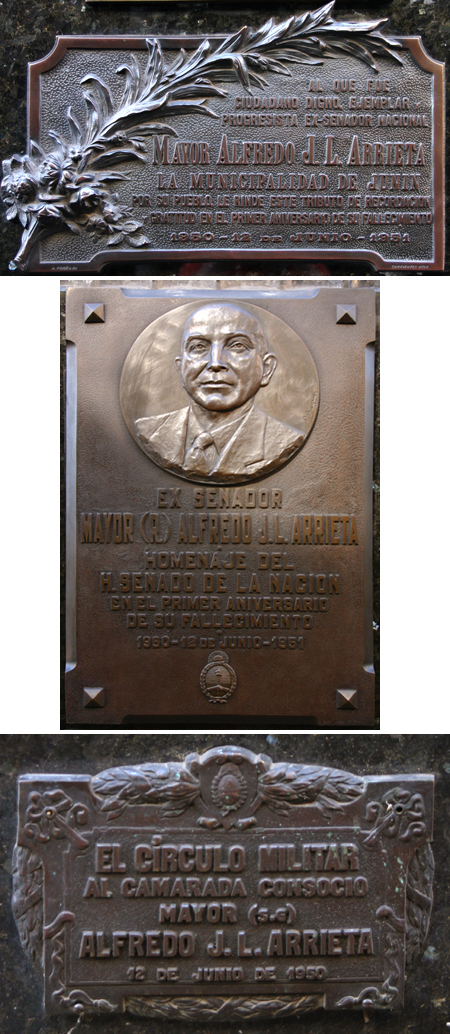 Recoleta Cemetery, Buenos Aires, Major Alfredo Arrieta plaques