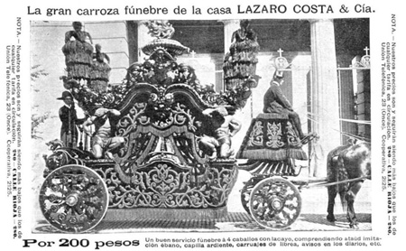 Recoleta Cemetery, Carroza or carriage for funeral services