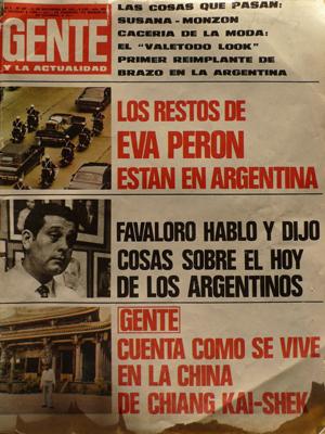 """Revista Gente, 21 nov 1974, """"Los restos de Eva Perón están en Argentina"""""""