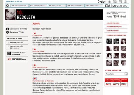 gobBsAs tourism webpage, Recoleta
