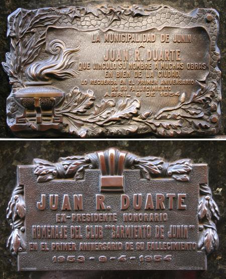 Recoleta Cemetery, Buenos Aires, Juan Duarte plaques