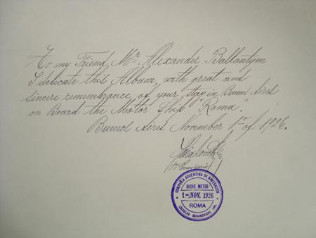 Buenos Aires, Fototipias Peuser, Mihanovich dedication, dedicatoria de Mihanovich.