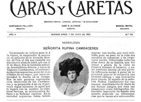 Rufina Cambacérès, Caras y Caretas, obituary, necrológica