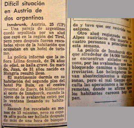 Newspaper article, La Prensa, Liliana Crociati de Szaszak
