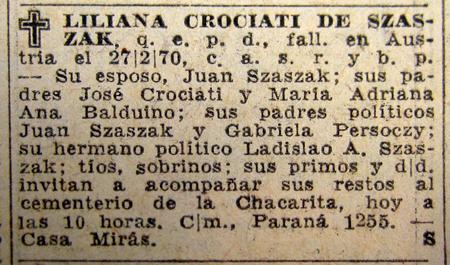 Obituary, La Nación, Liliana Crociati de Szaszak